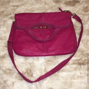 🦋 Fossil Pink Erin Leather Fold-over Tote Bag